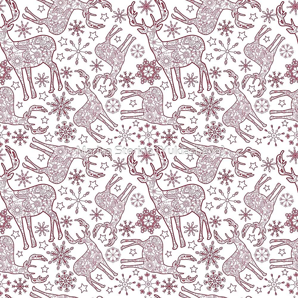 Cristmas deer pattern by Marina Sterina