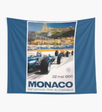 MONACO GRAND PRIX; Vintage Auto Racing Print Wall Tapestry