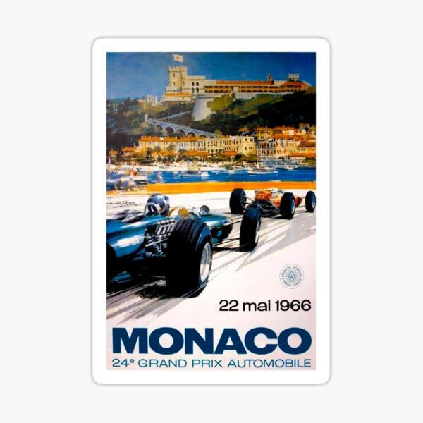 MONACO GRAND PRIX; Vintage 1966 Auto Racing Print Sticker