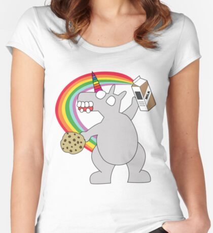 angry zombie unicorn has a snack Women's Fitted Scoop T-Shirt