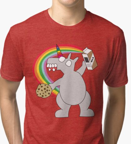 angry zombie unicorn has a snack Tri-blend T-Shirt