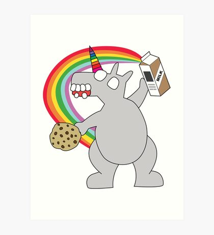 angry zombie unicorn has a snack Art Print
