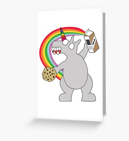 angry zombie unicorn has a snack Greeting Card