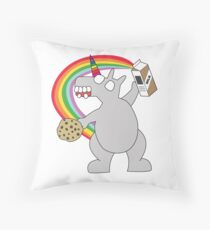 angry zombie unicorn has a snack Throw Pillow