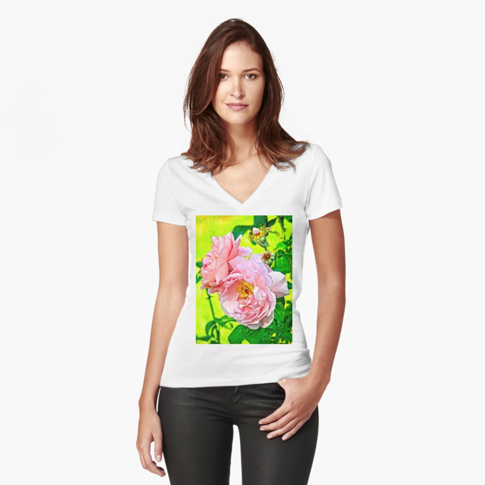 Pretty in pink Fitted V-Neck T-Shirt
