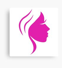 Beautiful pink simple woman face Canvas Print