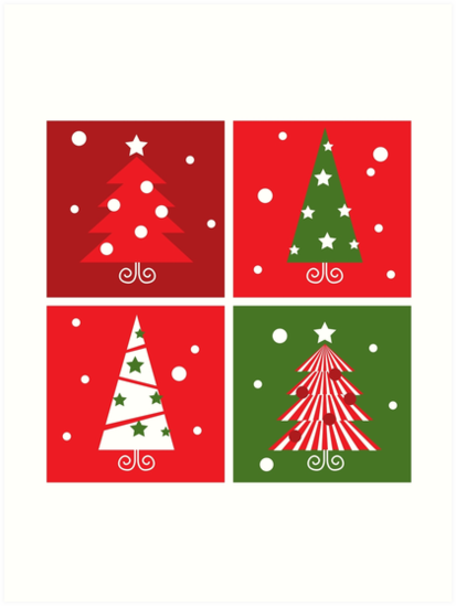 Christmas Trees design blocks icons : red and green by Bee and Glow Illustrations Shop