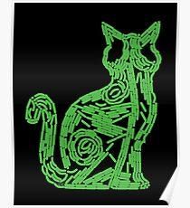Fluorescent green biofilm cat Poster