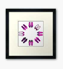 Collection of sexy female shoes Framed Print