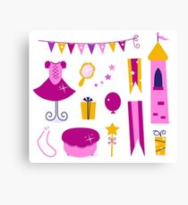 Vector collection of design elements for Princess Party Canvas Print