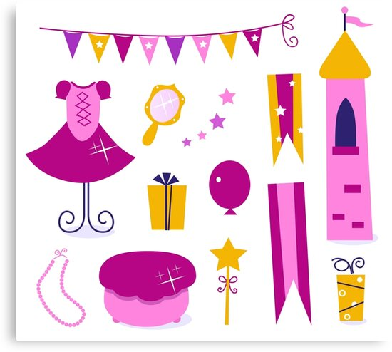 Vector collection of design elements for Princess Party by Bee and Glow Illustrations Shop