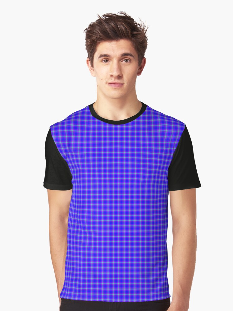 Navy Purple Teal Plaid Graphic T-Shirt Front