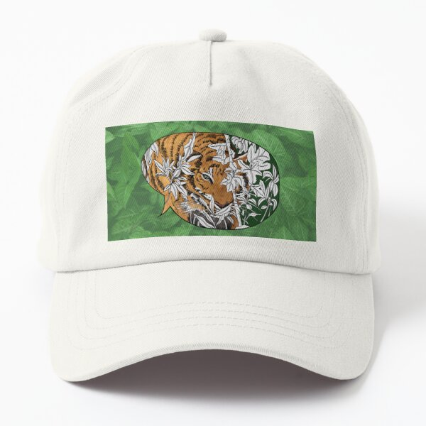 Tigers in the back yard with background Dad Hat