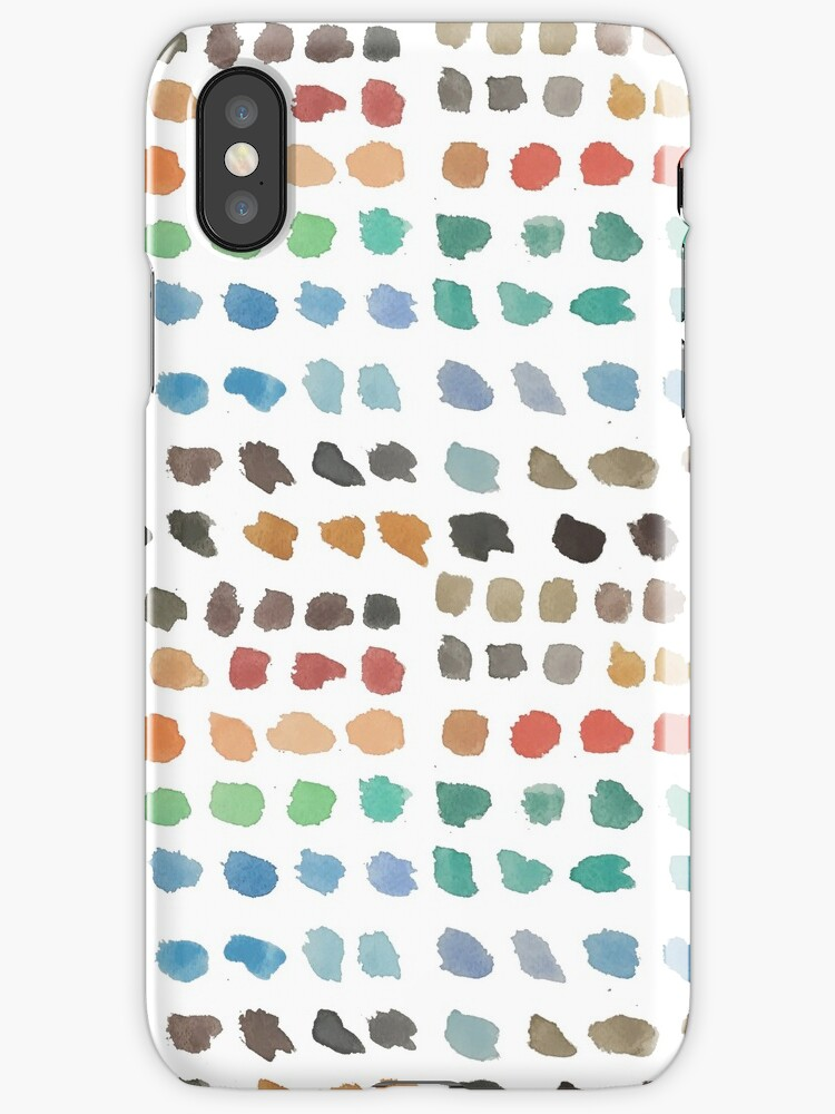 Cool Spectrum Paint Splodges on White Hand Painted Watercolors by podartist