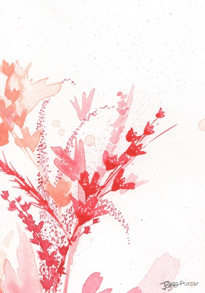 Floral abstract #4 - Red wildflowers by Jess Purser