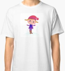 Little Girl in winter cosume isolated on white - vector cartoon Classic T-Shirt