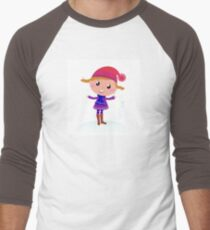 Little Girl in winter cosume isolated on white - vector cartoon T-Shirt