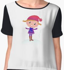 Little Girl in winter cosume isolated on white - vector cartoon Women's Chiffon Top