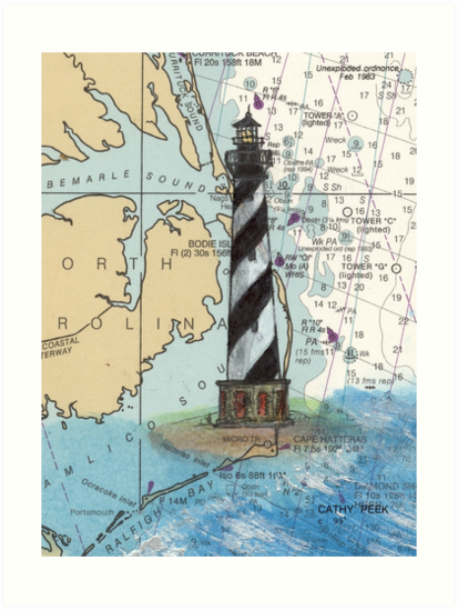 Cape Hatteras Lighthouse NC Nautical Chart Cathy Peek by Cathy Peek