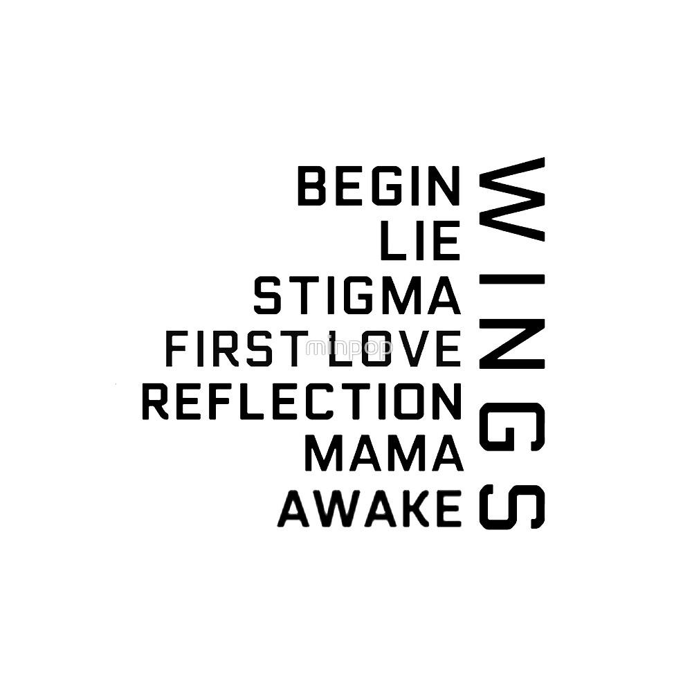 BTS - WINGS Tracklist Titles by minpop
