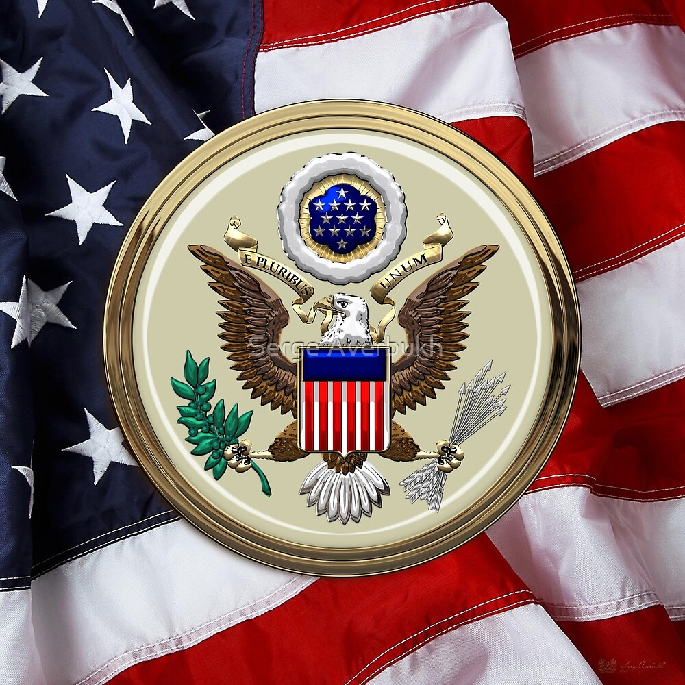 U.S.A.  - The Great Seal over American Flag by Serge Averbukh