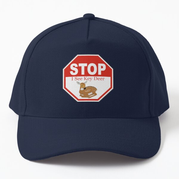 Stop I See a Key Deer Fawn in the Florida Keys White Baseball Cap