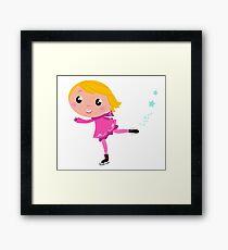 Figure skating Girl in pink costume Framed Print