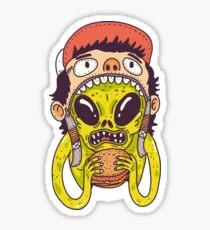 Alien loves Burger Sticker