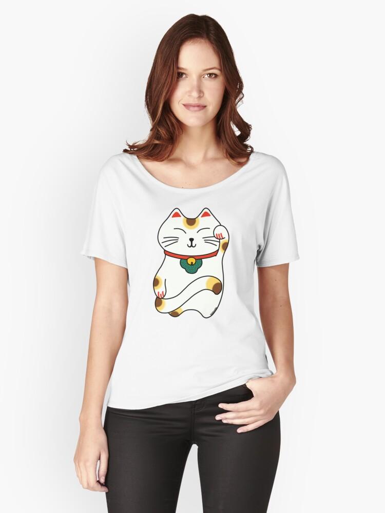 Maneki Neko - Japanese lucky cat Women's Relaxed Fit T-Shirt Front