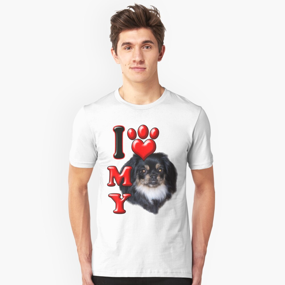 I Love My Pekingese Black Unisex T-Shirt Front
