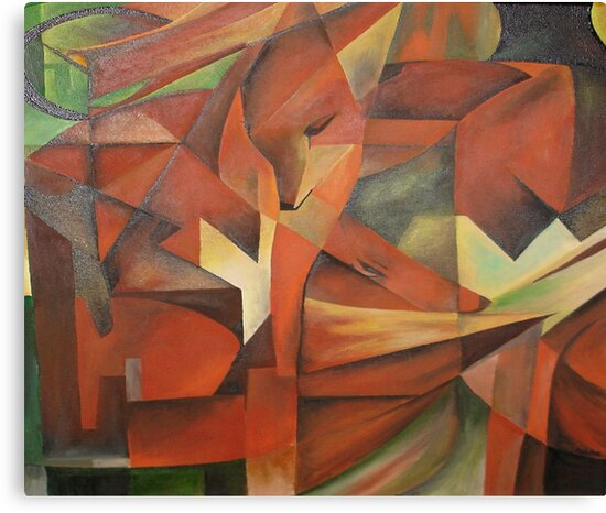 """""""Foxes"""" -  Homage to Franz Marc (1913)     by taiche"""