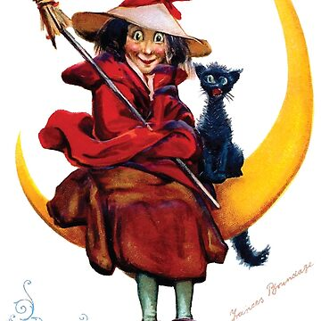 Vintage Halloween Witch Cat and Moon by kindawonderful
