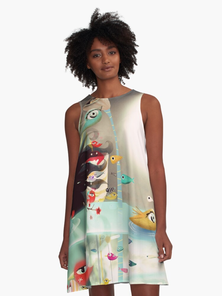 Light and transparency illustration underwater  A-Line Dress Front