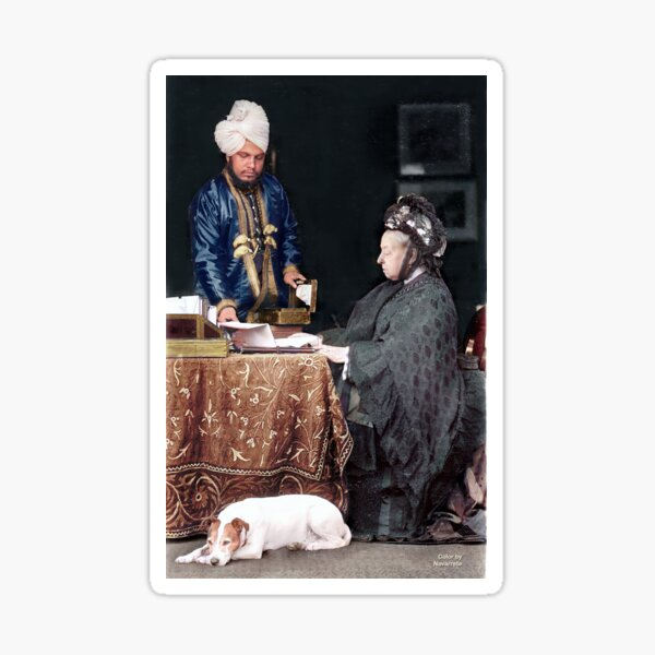 Queen Victoria of England with Abdul Karim at Balmoral. Around 1890. Sticker