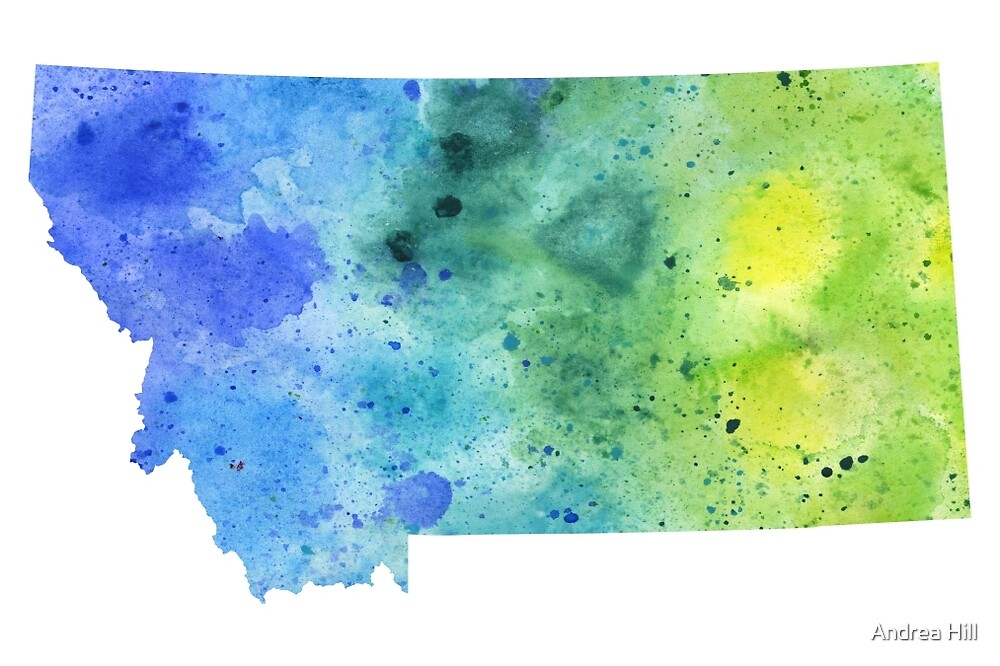 Watercolor Map of Montana, USA in Blue and Green by Andrea Hill