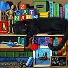 Black cat Nap Time animal art portrait  by LindaAppleArt
