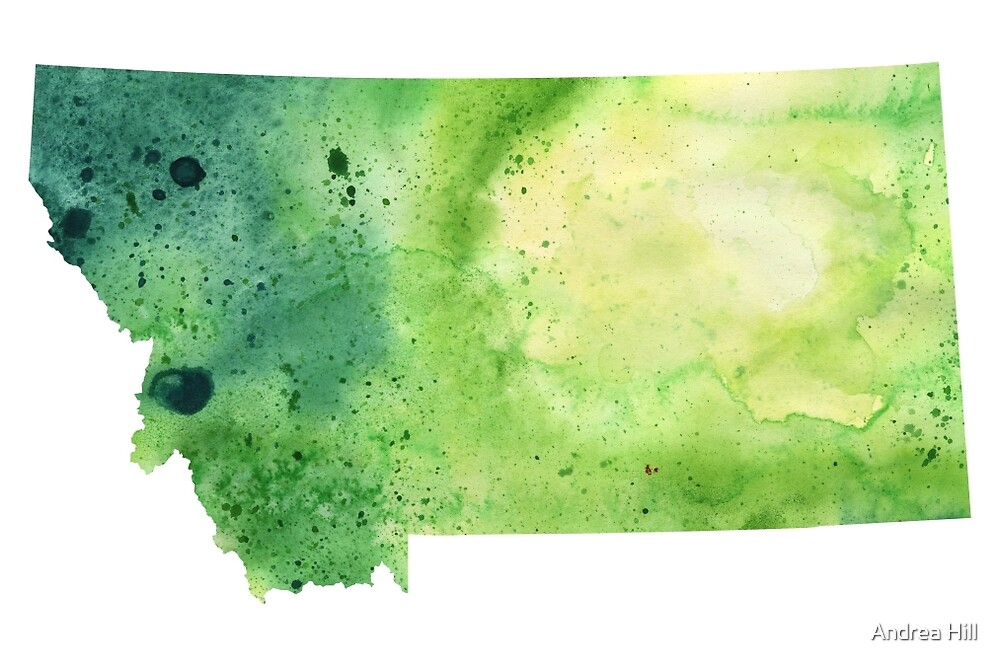 Watercolor Map of Montana, USA in Green  by Andrea Hill