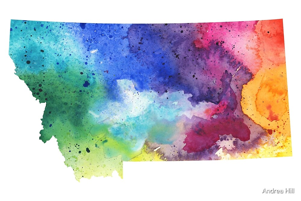 Watercolor Map of Montana, USA in Rainbow Colors  by Andrea Hill