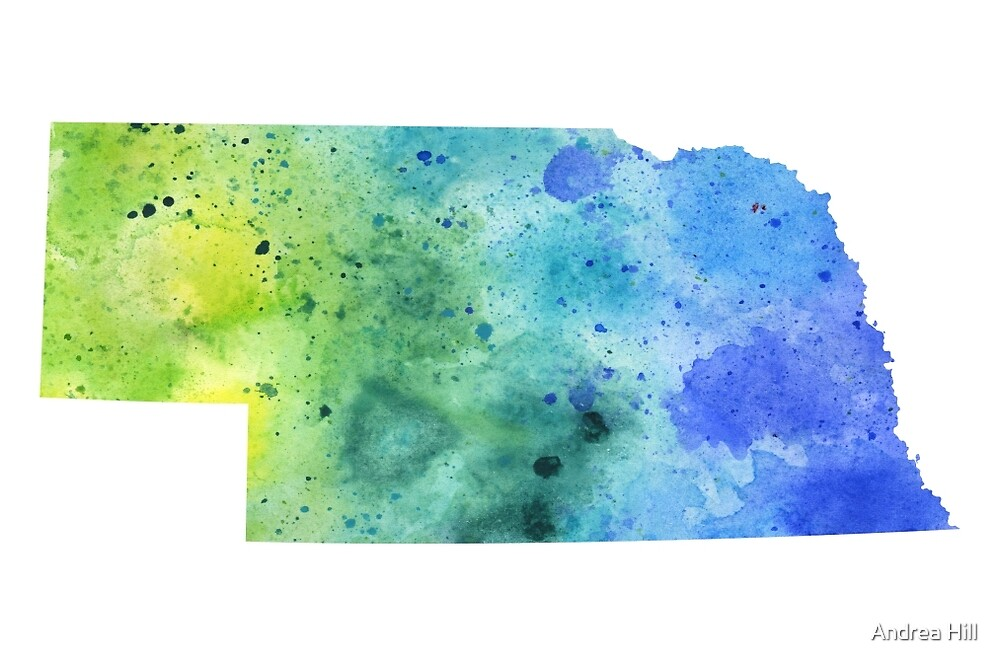 Watercolor Map of Nebraska, USA in Blue and Green  by Andrea Hill