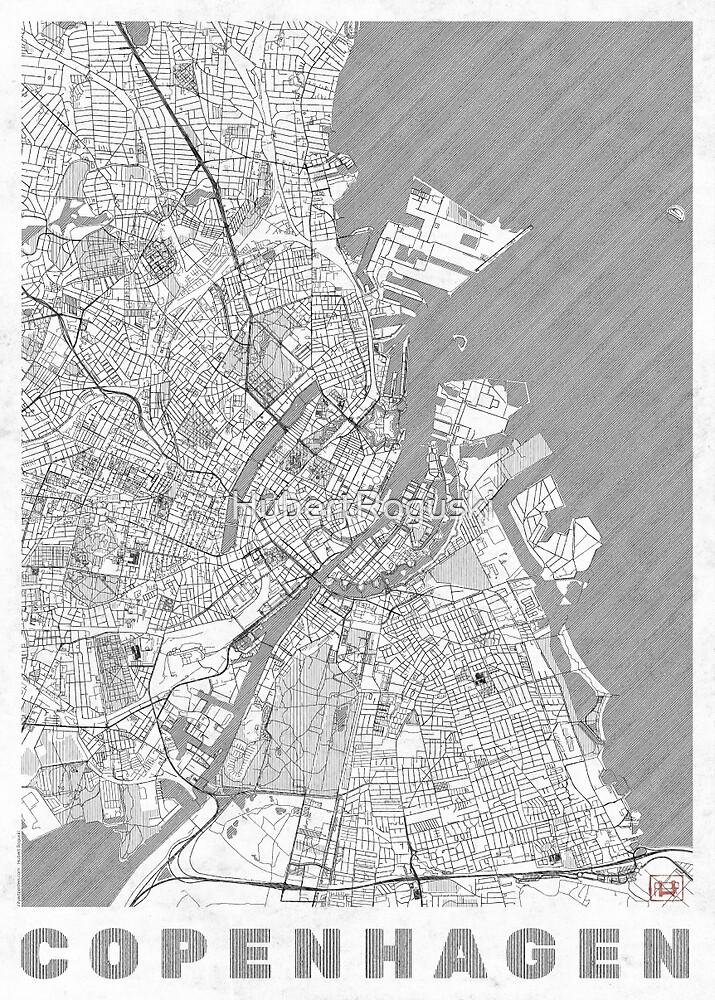 Copenhagen Map Line by HubertRoguski