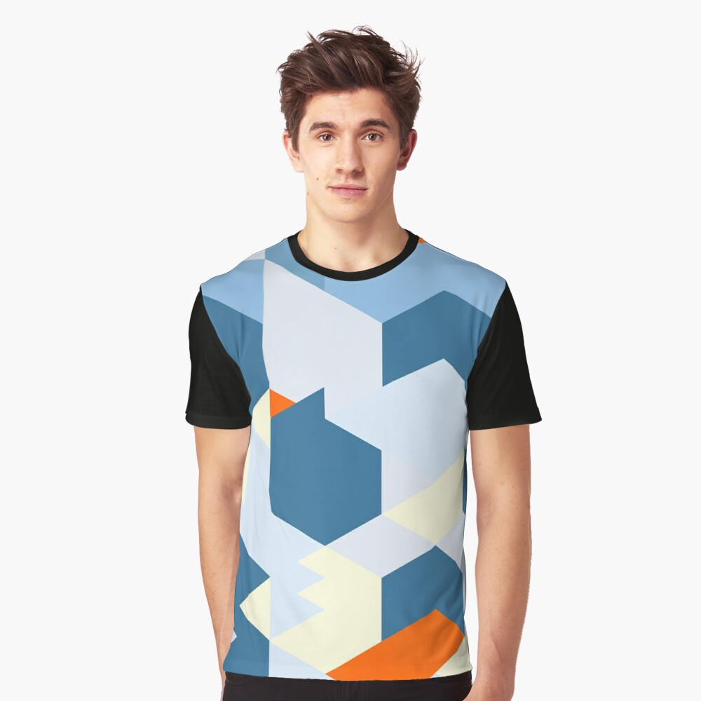 Geometric abstract minimal art shapes pattern Graphic T-Shirt Front