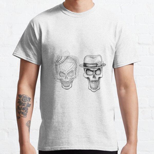 Old Hollywood Skull Bride & Groom Black & White Portrait Classic T-Shirt