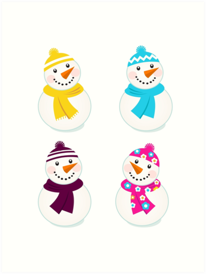 Vector cute snowman collection : just one original illustration by Bee and Glow Illustrations Shop