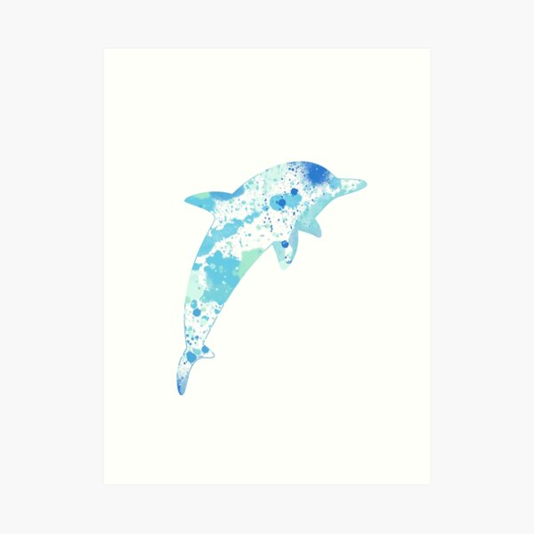 Dolphin Paint Splatter Art Print