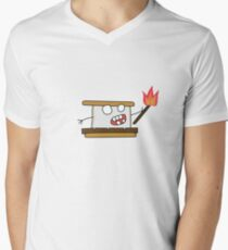 angry zombie s'more Men's V-Neck T-Shirt