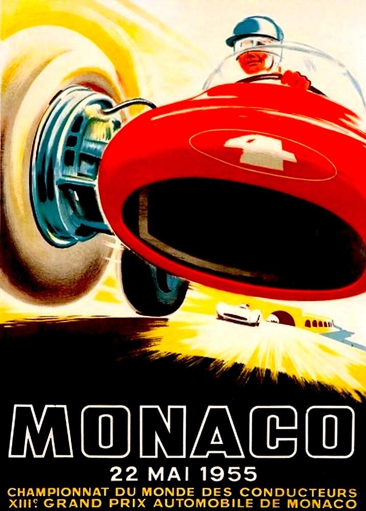 MONACO GRAND PRIX; Vintage Auto Racing Print by posterbobs