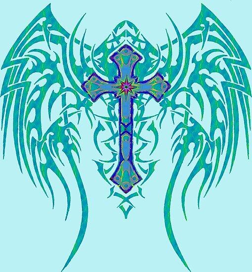 TRIBAL WING CROSS BLUE by SK8N