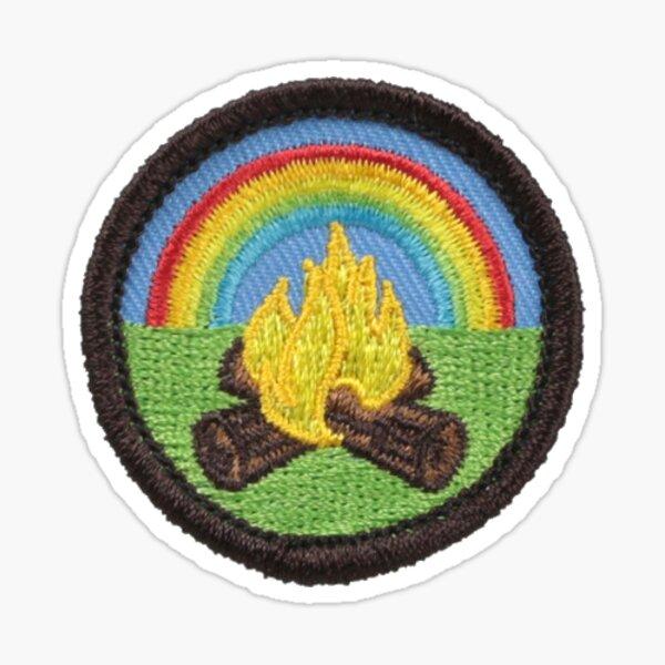 Rainbow campfire patch sticker Sticker