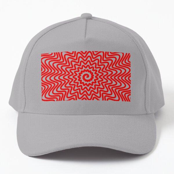 Red wavy spiral Baseball Cap