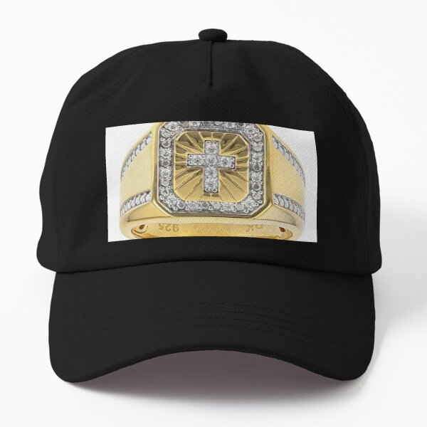 White Cubic Zirconia 18K Yellow Gold Over Sterling Silver Men's Cross Ring 0.37ctw Dad Hat